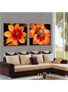 New Arrival Lovely Orange Flowers Print 2-piece Cross Film Wall Art Prints