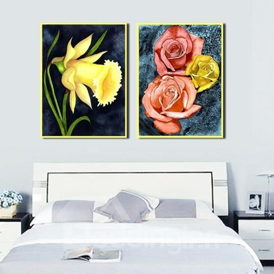 New Arrival Oil-painting Style Colorful Flowers Print 2-piece Cross Film Wall Art Prints