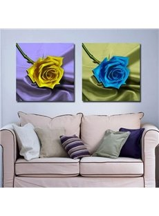 New Arrival Beautiful Blue and Yellow Roses Print 2-piece Cross Film Wall Art Prints