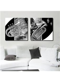 Vintage Saxophone and Music Notes 2-Piece Framed Wall Prints