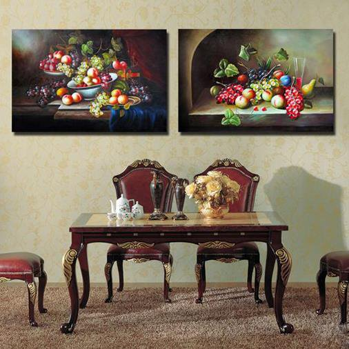 Oil-painting Style Various Fruits on the Table Print 2-piece Cross Film Wall Art Prints