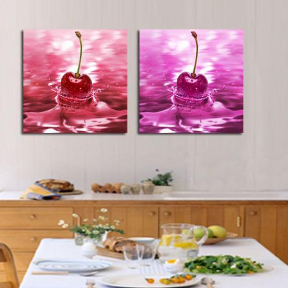 New Arrival Lovely Cherry in Water Print 2-piece Cross Film Wall Art Prints