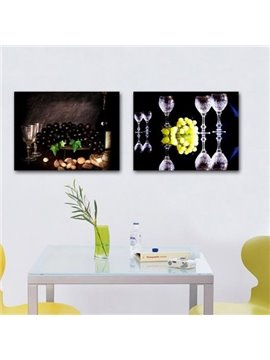 New Arrival Elegant Grapes and Wine Glasses Print 2-piece Cross Film Wall Art Prints