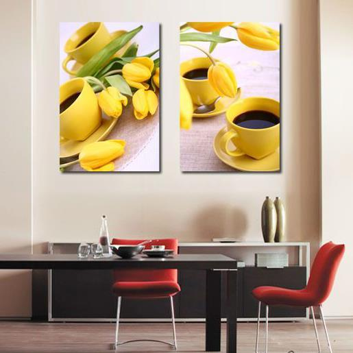 New Arrival Beautiful Yellow Tulips and Cups Print 2-piece Cross Film Wall Art Prints