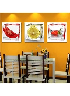New Arrival Lovely Iced Sliced Fruits Print 3-piece Cross Film Wall Art Prints