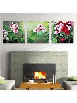 New Arrival Beautiful Flowers and Leaves Print 3-piece Cross Film Wall Art Prints