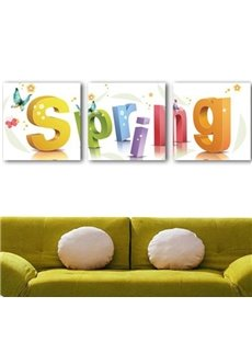 New Arrival Lovely Spring Letters Print 3-piece Cross Film Wall Art Prints