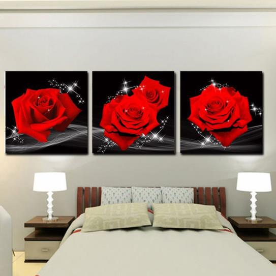 16×16in×3 Panels Red Roses Hanging Canvas Waterproof and Eco-friendly Black Framed Prints