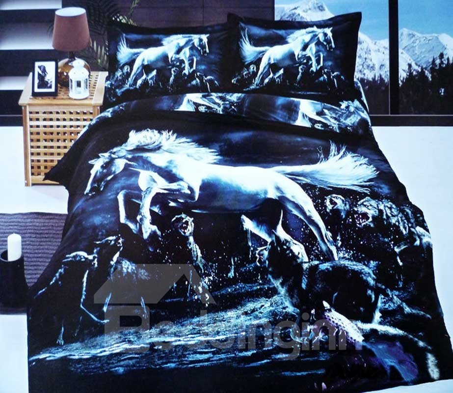 3D Jumping Horse and Wolves Printed Cotton 4-Piece Bedding Sets/Duvet Covers