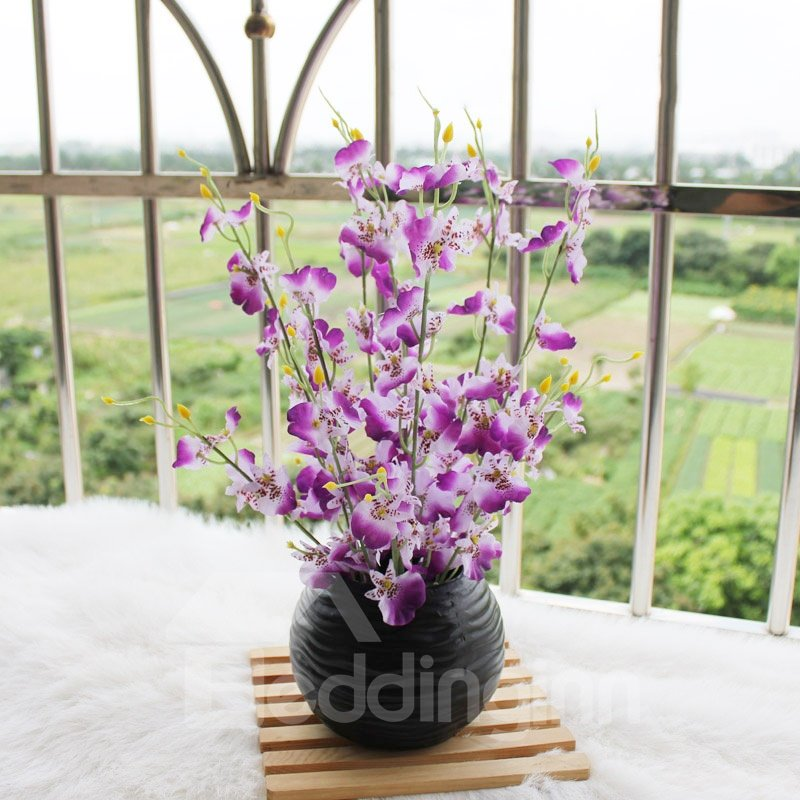New Arrival Lovely Purple Flowers In Black Round Vase Decorative