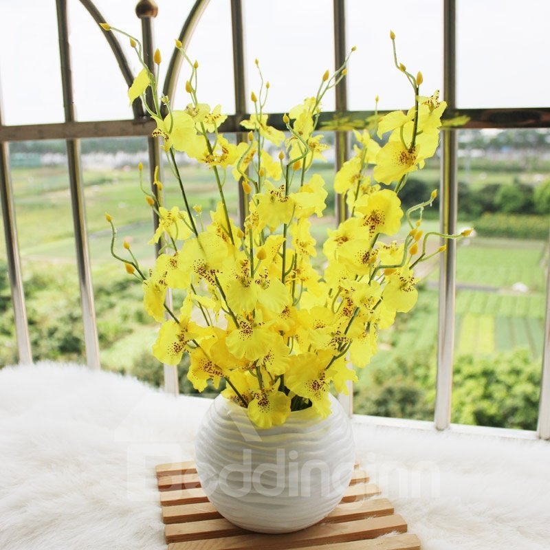 New Arrival Lovely Yellow Flowers in White Round Vase Decorative Artificial Flower Set