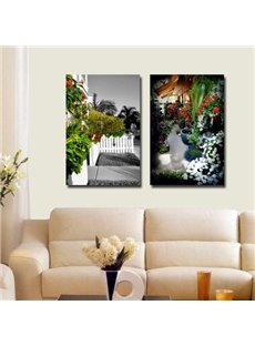 New Arrival Beautiful Flowers Blossoms in Front of House Print 2-piece Cross Film Wall Art Prints