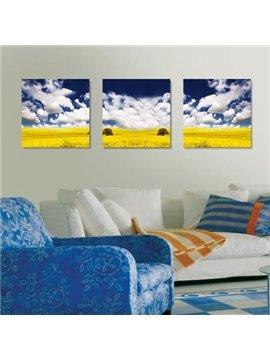 New Arrival Beautiful Blue Sky and Yellow Plain Print 3-piece Cross Film Wall Art Prints