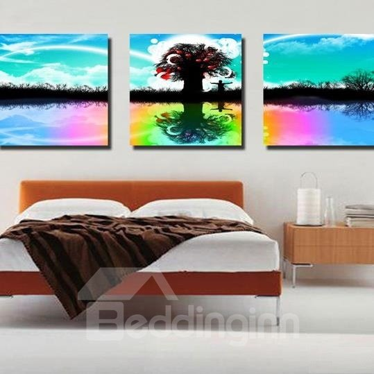 New Arrival Beautiful Tree and Colorful Shadows Print 3-piece Cross Film Wall Art Prints