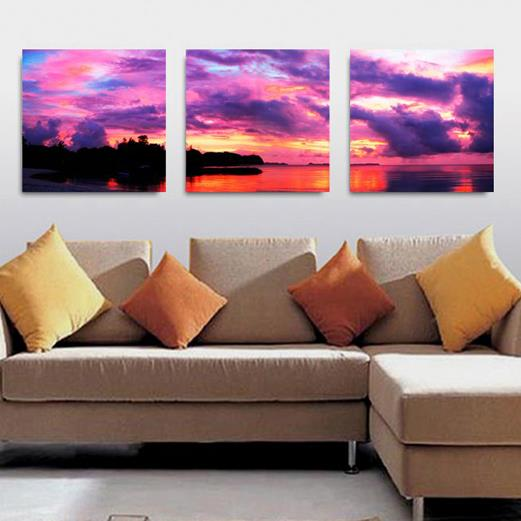 Amazing Purple Sky and Lake 3-piece Cross Film Wall Picture Frames