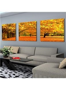 Elegant Golden Maple Tree and Leaves Print 3-piece Cross Film Wall Art Prints
