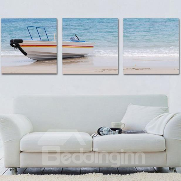 New Arrival Lovely Boat on the Beach Print 3-piece Cross Film Wall Art Prints