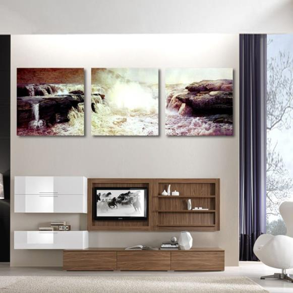Stunning Rocks and Turbulent Water-flow Print 3-piece Cross Film Wall Art Prints