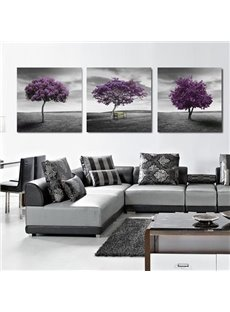 16×16in×3 Panels Purple Trees in Desert Hanging Canvas Waterproof and Eco-friendly Framed Prints