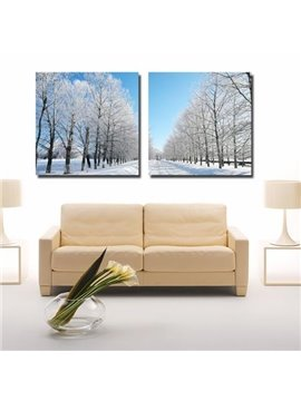 New Arrival Beautiful White Trees in the Snow Print 2-piece Cross Film Wall Art Prints