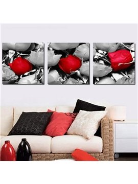 New Arrival Beautiful Red and Grey Roses Print 3-piece Cross Film Wall Art Prints