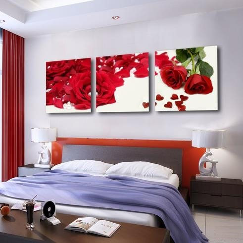 New Arrival Luxurious Red Roses and Petals Print 3-piece Cross Film Wall Art Prints