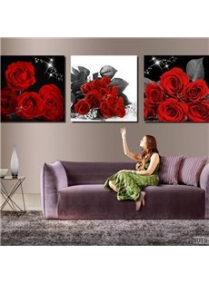 16×16in×3 Panels Red Roses Pattern Hanging Canvas Waterproof and Eco-friendly Framed Prints