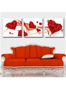 New Arrival Lovely Red Roses in Heart Shape Print 3-piece Cross Film Wall Art Prints