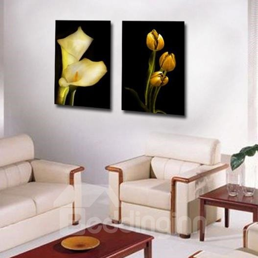 New Arrival Lovely Yellow Calla and Bud Print 2-piece Cross Film Wall Art Prints
