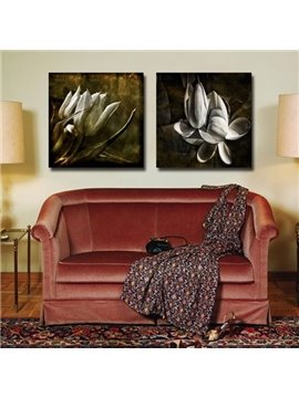 New Arrival Elegant Grey Flowers Print 2-piece Cross Film Wall Art Prints
