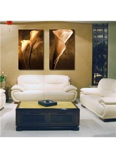16×24in×3 Panels White Zantedeschia on Brown Background Hanging Canvas Waterproof Eco-friendly Framed Prints