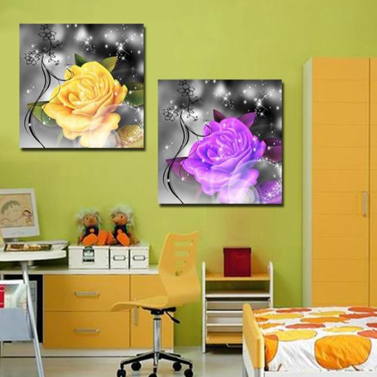 New Arrival Luxurious Colorful Flowers Print 2-piece Cross Film Wall Art Prints