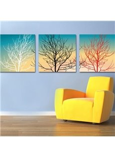 New Arrival Modern Style Abstract Trees Print 3-piece Cross Film Wall Art Prints