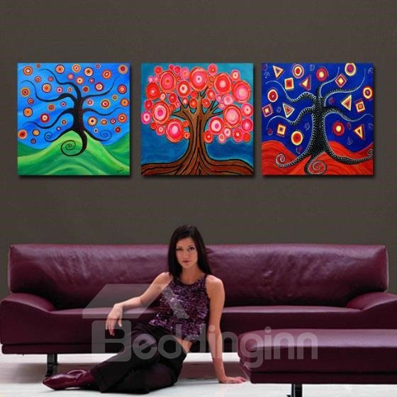 New Arrival Beautiful Abstract Colorful Trees Print 3-piece Cross Film Wall Art Prints