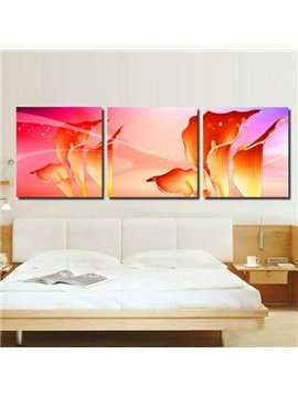 New Arrival Luxurious Golden Red Calla Flowers Print 3-piece Cross Film Wall Art Prints