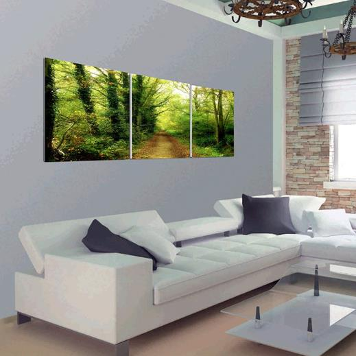 New Arrival Beautiful Path in Forest Print 3-piece Cross Film Wall Art Prints