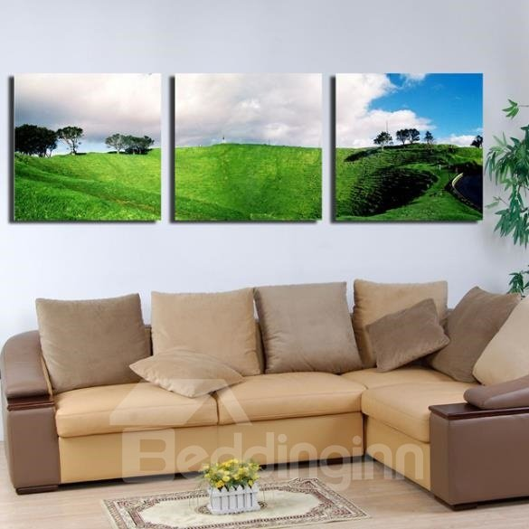 New Arrival Beautiful Green Plain and White Clouds Print 3-piece Cross Film Wall Art Prints