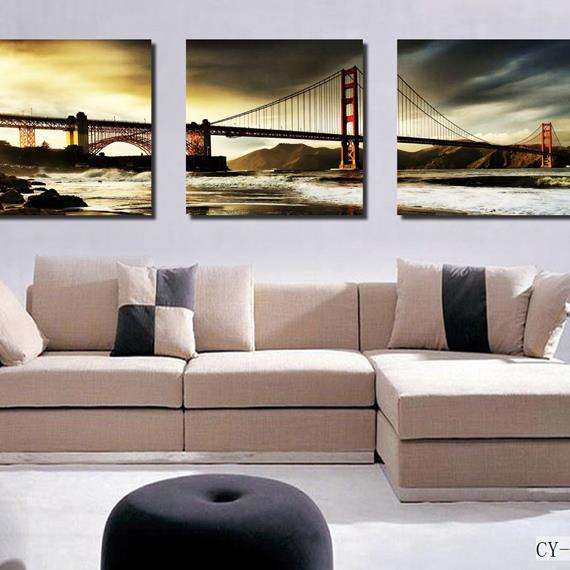 16×16in×3 Panels Golden Gate Bridge Hanging Canvas Waterproof and Eco-friendly Framed Prints