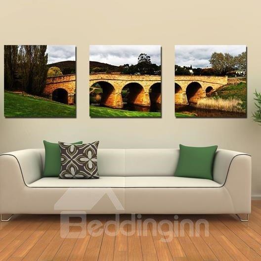 New Arrival Beautiful Stone Arch Bridge Scenery Print 3-piece Cross Film Wall Art Prints