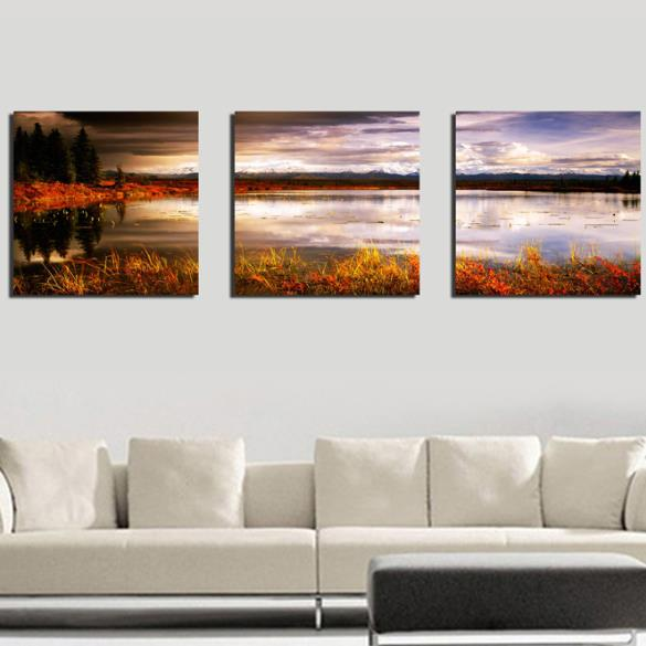 New Arrival Beautiful Lake and Sky Scenery at Dusk Print 3-piece Cross Film Wall Art Prints