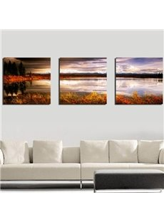 New Arrival Beautiful Lake and Sky Scenery at Dusk Print 3-piece Cross Film Wall Art Prints