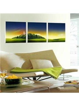 New Arrival Beautiful Green Mountain and Plain Scenery Print 3-piece Cross Film Wall Art Prints