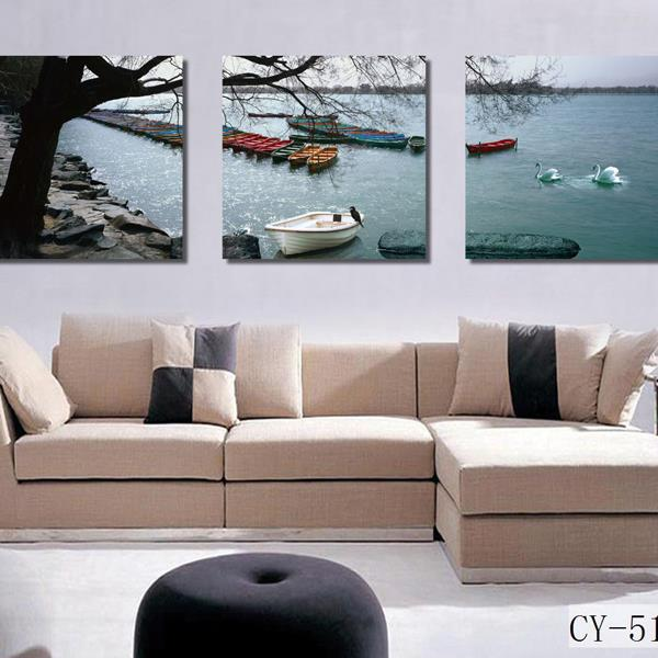 New Arrival Beautiful A Row of Boats by the Lake Scenery 3-piece Cross Film Wall Art Prints