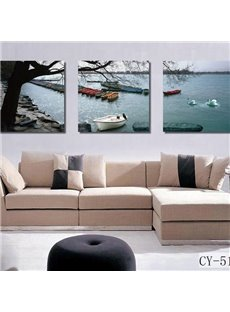 16×16in×3 Panels Boats in Lake Hanging Canvas Waterproof and Eco-friendly Framed Prints