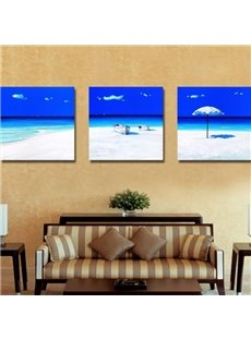 New Arrival Beautiful White Sand Beach and Blue Sea Print 3-piece Cross Film Wall Art Prints
