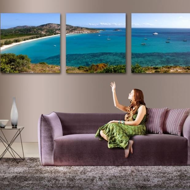 Lovely Blue Ocean and Beach Scenery 3-piece Cross Film Wall Art Prints