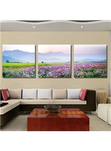 New Arrival Amazing Sea of Flowers Print 3-piece Cross Film Wall Art Prints