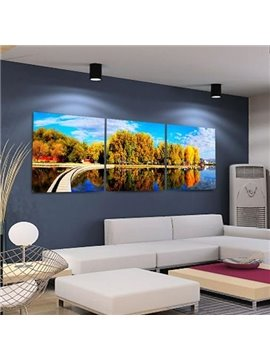 New Arrival Beautiful Yellow Trees and Shadows Print 3-piece Cross Film Wall Art Prints