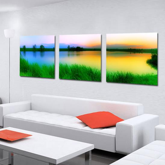 New Arrival Beautiful Colorful Lake Scenery Print 3-piece Cross Film Wall Art Prints
