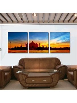 New Arrival Beautiful Castle at Dusk Print 3-piece Cross Film Wall Art Prints
